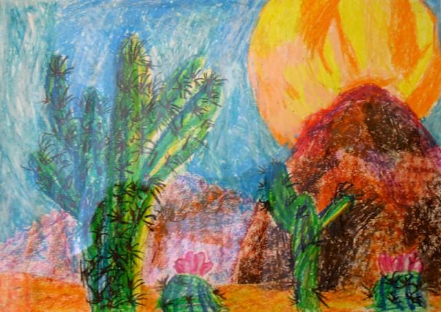 Мексиканский пейзаж (масляная пастель), Тестоедова Даша, 6 лет. Это уже привет kavisat'у