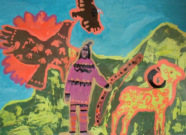 Индейские легенды (гуашь). Зарипов Тимур, 7 лет