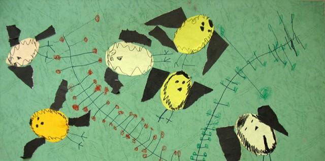 Синички (аппликация, фломастер), Порцева Александрина, 4 года