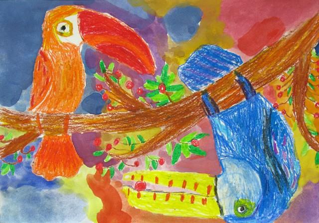 Игра туканов (масляная пастель, акварель), Бокова Юля, 8 лет