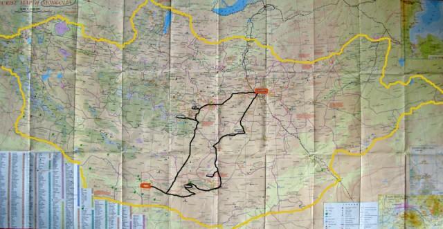 Карта Монголии с нашим маршрутом