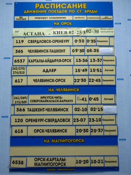 расписание пезда: