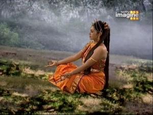 Анджана медитирует на Шиву, чтобы родить его как сына