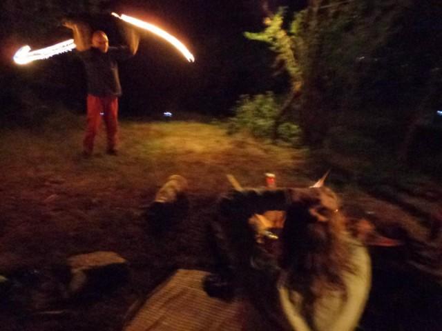 fire-dance во дворе странного дома