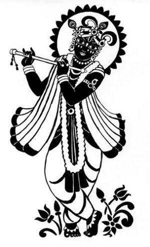 Черно-белый Кришна, тушь.  Печатать на Shutterfly.com.