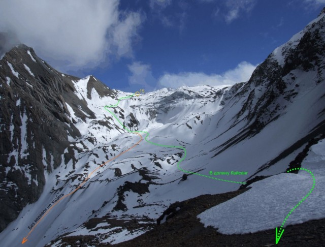 16. Вид на перевал Месоканту снизу из точки 16.
