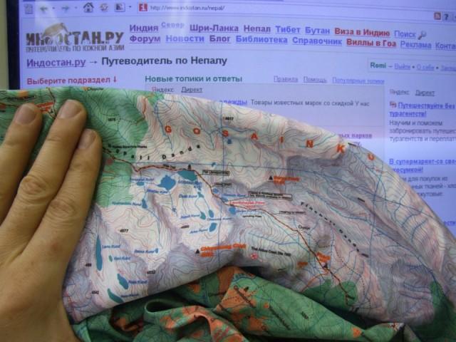 Карта Госайкунда, распечатанная на ткани.