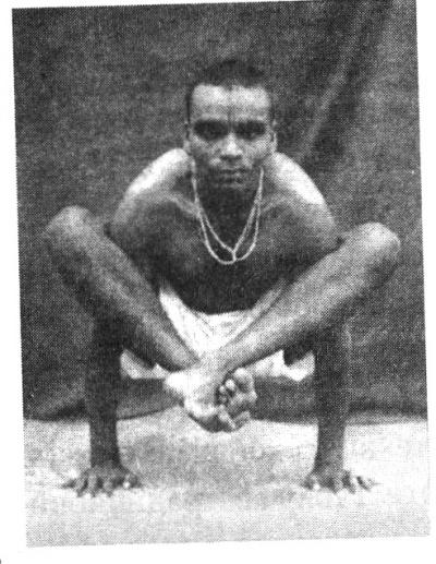 Б.К.С.Айенгар  в  возрасте  24  лет демонстрирует   бхуджапидасану.