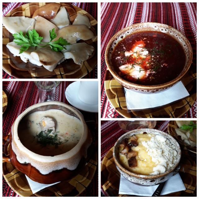 борщ, тушёная картошка, солёные грузди и банош