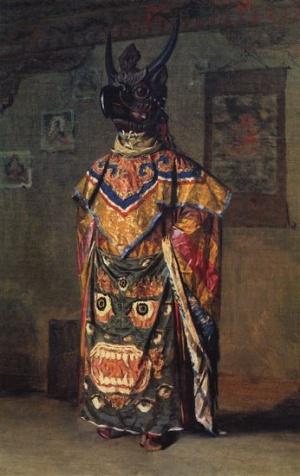 Буддиский лама на празднике в монастыре Пемиончи. Сикким. 1874-1876