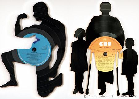 Ещё один способ, сделать из пластинки дизайнерскую вещь или даже предмет искусства.  Пластинки - легкий в обработке...