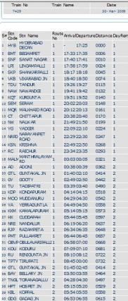 Расписание одного из поездов