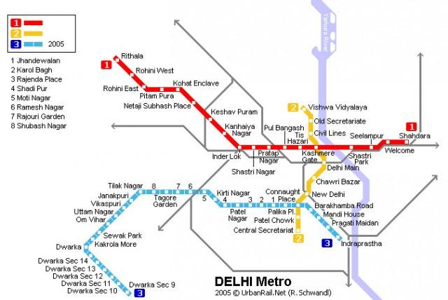 Схема делийского метро