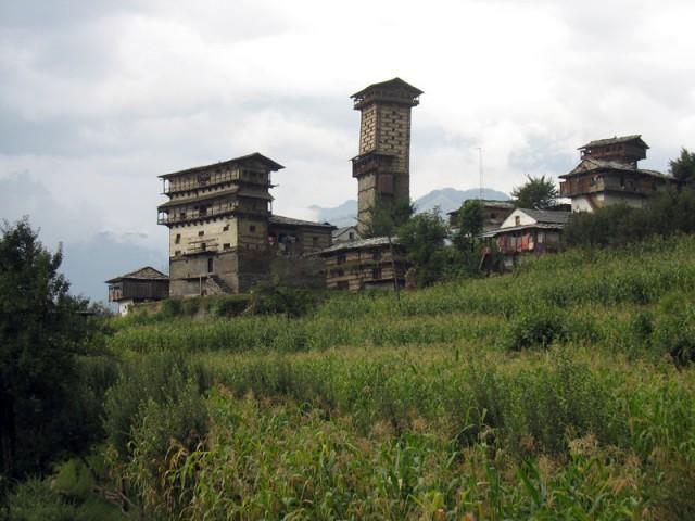 Башня форта и храм Кришны в Чаини