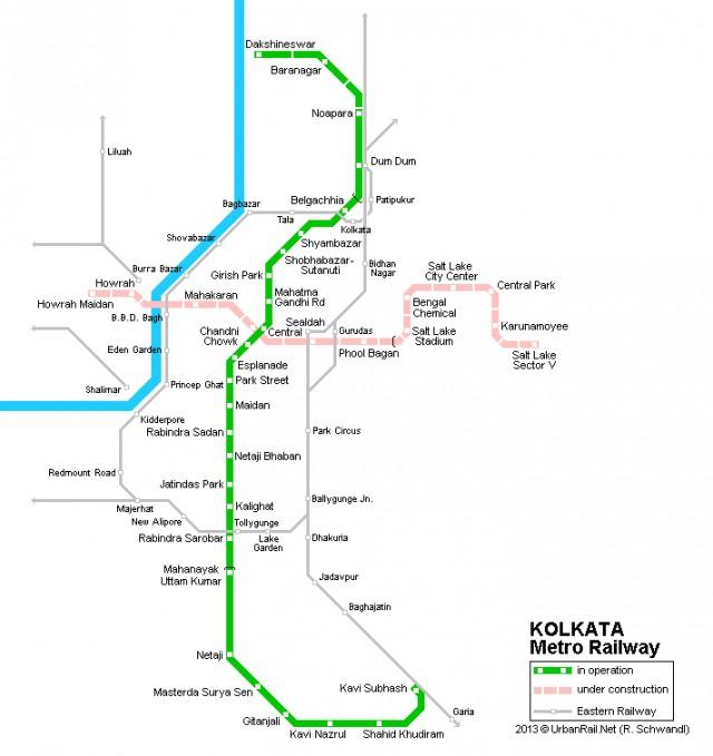 Карта калькуттского метро