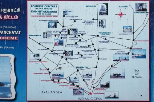 Схема туристических мест в окрестностях Каньякумари