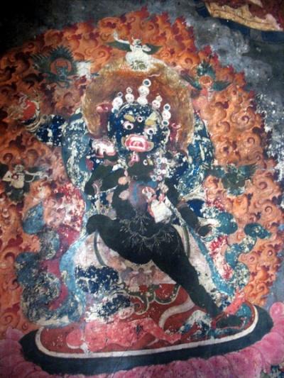 Фрагмент настенной росписи в старом монастыре в Ше