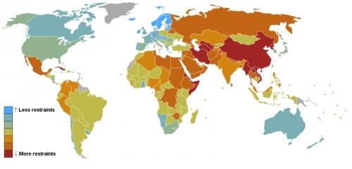 Свобода слова в мире (чем темнее, тем меньше свободы)