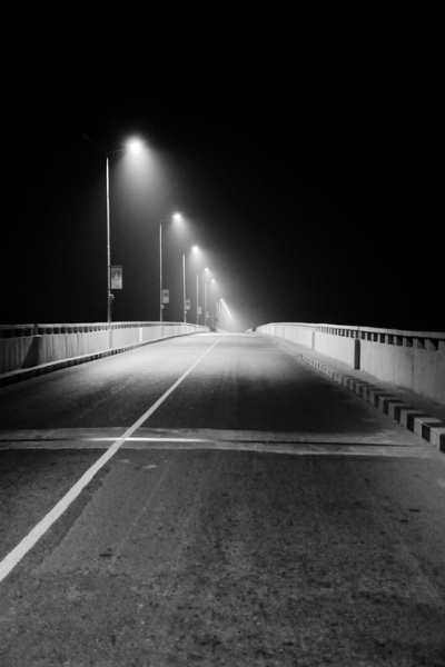 Siolim bridge at night
