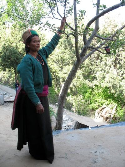 Гостеприимная хозяйка в традиционной киннорской одежде. Pangi