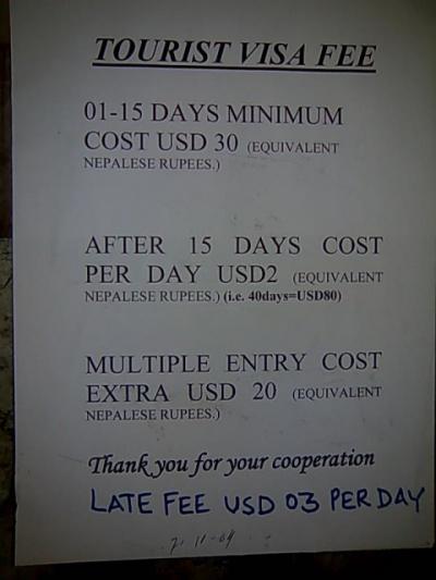 Стоимость непальской визы