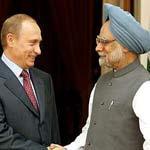 Владимир Путин и Манмохан Сингх в Индии